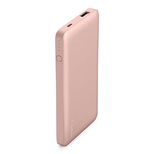 Belkin Pocket Power Bank 5000 mAh Fast, Portable Charger (Certified Safety) for iPhone X/8/7, iPad, Samsung Galaxy S9/S8/S7, Rose Gold