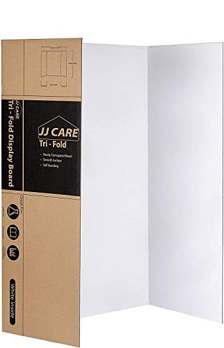 JJ CARE Heavy-Duty Trifold Poster Board 36' x 48' Trifold Presentation Board [Pack of 2] Corrugated Cardboard Panel - Trifold Board for Art Projects and Science Fair Board