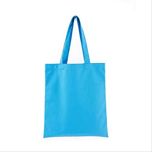 WSGYA Unisex Handtasche Gedruckt Lebensmittelgeschäft Täglicher Gebrauch Wiederverwendbare Öko-Baumwolle Reise Freizeit Einkaufen Damen Tasche 35x40cm blau