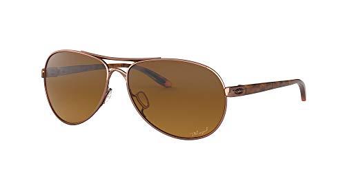 Oakley Women's OO4079 Feedback Aviator Metal Sunglasses, Rose Gold/Brown Gradient Polarized, 59 mm