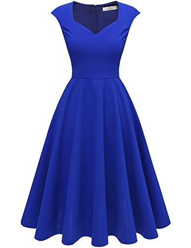 HomRain 50er Rockabilly Kleid Damen Vintage V-Ausschnitt Cocktailkleid Faltenrock Elegent Abendkleider Royalblue S