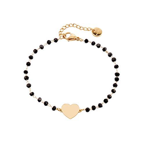 Braccialetto a forma di cuore per donne e ragazze, regolabile a forma di cuore,alla moda, colore nero, per amici, regalo di compleanno