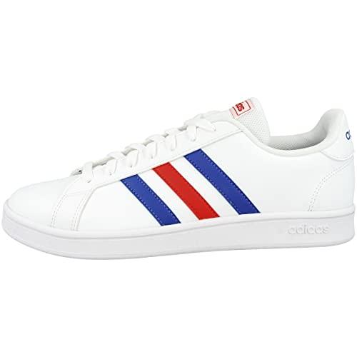 Adidas Grand Court Base, Zapatos de Tenis Hombre, FTWR White Blue Active Red, 42 2/3 EU
