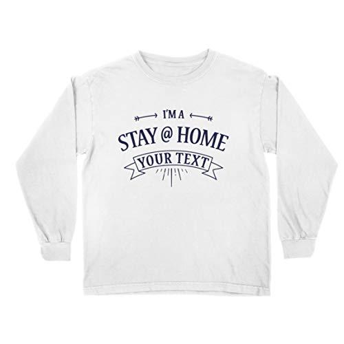 lepni.me Camiseta para Niño/Niña Texto Personalizado de Stay Home con Amor Familiar (7-8 Years Blanco Multicolor)