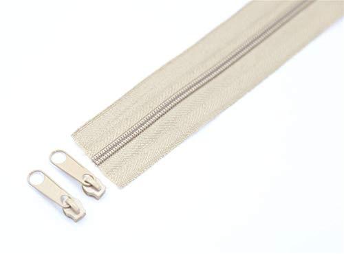 Leluo LRrui-Chiusura Lampo Unica 3 Metri # 3 Cerniere in Nylon Bobina in Nylon, per Accessori per Cucire Fai da Te, con cursori abbinati a Colori, Accessori da Cucito (Color : Khaki, Size : 3#)