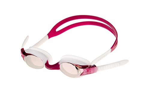 AqtivAqua Kids Swim Goggles Swimming Goggles for Kids Youth Childrens Boys Girls - Mirror Lenses (FuchsiaSock - Red/White Color)