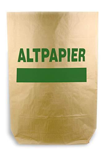 Hypafol Bio Papier Müllbeutel | abbaubare braune Biomüllbeutel für kompostierbare &biologische Abfälle & Papier | ohne Plastik | 2-lagig, Tüten mit 120 L | 700x950+220 mm, Aufdruck Altpapier, 50 St