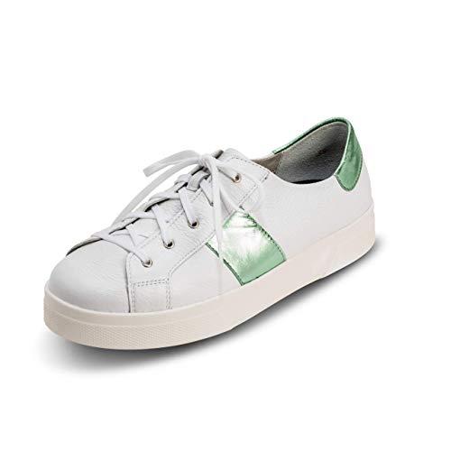 VITAFORM® Damen Sneaker Echt Leder 100% Hirschleder Weite H (weiß/Mint, Numeric_39)