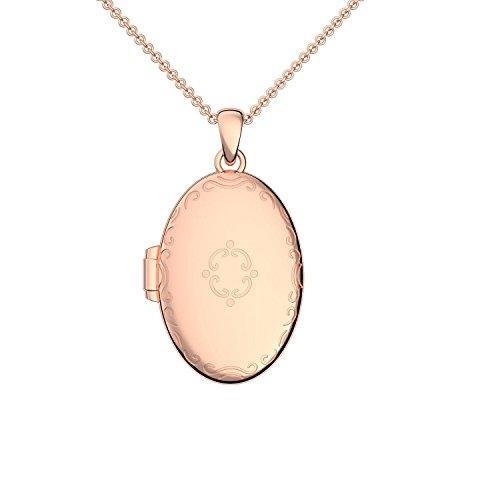 Medaillon oval groß Rotgold hochwertig vergoldet Amulett antik Vintage (Medalion, Medallion) rot zum Öffnen antik, aufklappen, aufklappbar mit Kette für Foto Rotgold FF102 VGRT45