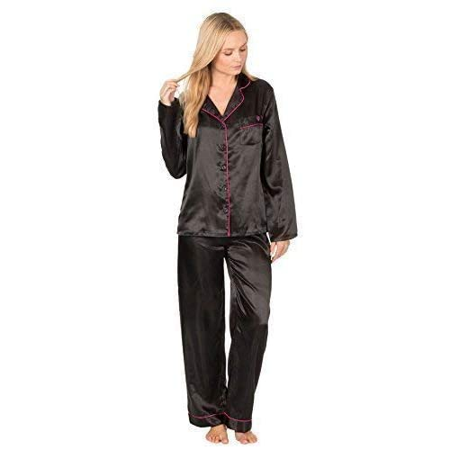 Ladies Satin Silk Pyjama Set Silky Lounge pjs New Improved 5ebcd90ff