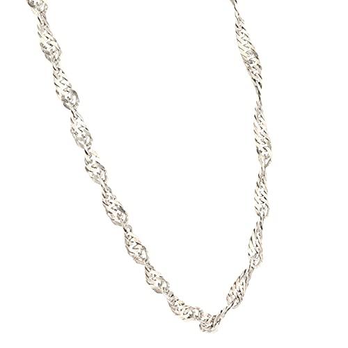 Jollys Jewellers Cadena de plata de ley de 61,5 cm con eslabones trenzados (3 mm de ancho) para mujer