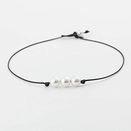 LHXMY Glamour Lady Collar De Cuerda De Cuero con Perlas DIY Collar-3 Perlas
