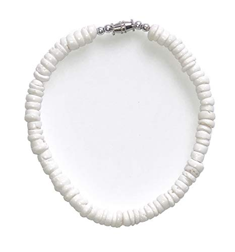 Handcrafted 9 inches Genuine Natural White Puka Shell Anklets with Twist Lock - 5mm
