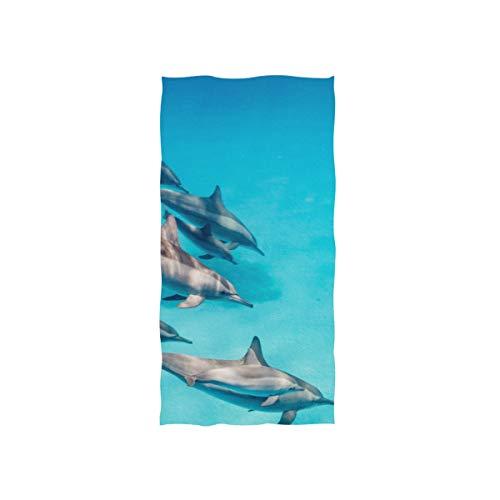 Enhusk Springen glücklich aufgeregt Delphin Soft Spa Strand Badetuch Fingerspitze Handtuch Waschlappen für Baby Erwachsene Bad Strand Dusche Wrap Hotel Travel Gym Sport 30 x 15 Zoll