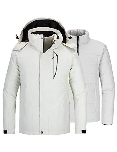 Wantdo Men's Ski Jacket Parka Cold Winter Coat with Hood Sky Off White X-Large