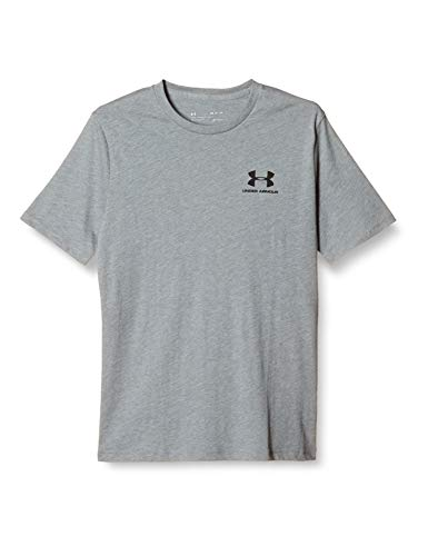 Under Armour Men's Sportstyle Left Chest Short-Sleeve T-Shirt , Steel Light Heather (036)/Black , Large