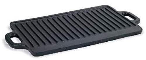 Lunaway Parrilla de hierro fundido esmaltado con dos asas, doble uso liso o estriado, antiadherente, no tóxica, casi todas las placas de cocción, también en el horno. Medidas: 70 x 35 x 1,8 cm