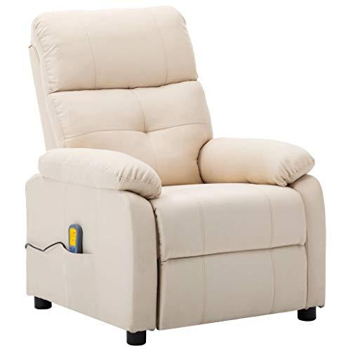 vidaXL Massagesessel mit Heizmassagefunktion 6 Massageprogrammen Fernsehsessel Relaxsessel Liegesessel TV Sessel Ruhesessel Creme Stoff