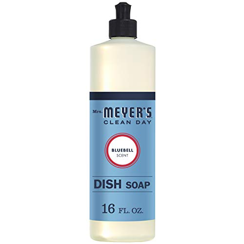 MRS. MEYER'S CLEAN DAY Liquid Dish Soap, Cruelty Free Formula, bell Scent, Blue, Bluebell Scent, 16 Fl Oz, Bluebell