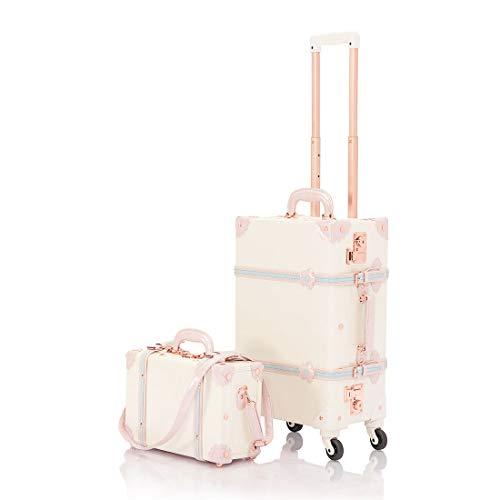 """COTRUNKAGE 軽量 スーツケース 機内持込 復古主義 修学旅行 キャリーバッグ かわいい sサイズ 小型 トランクケース 搭載 xsサイズ きゃりーばっく 4輪静音 出張 (XS(13"""")/M型(24""""託送必要),ホワイト)"""