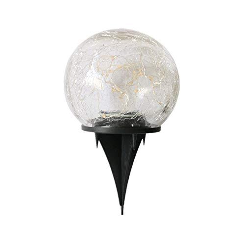 A-myt Puede vestir el jardín de energía solar jardín luz al aire libre impermeable lámpara de tierra luz inhumada para camino patio césped agrietado bola de vidrio LED solar sin nubes multifuncional