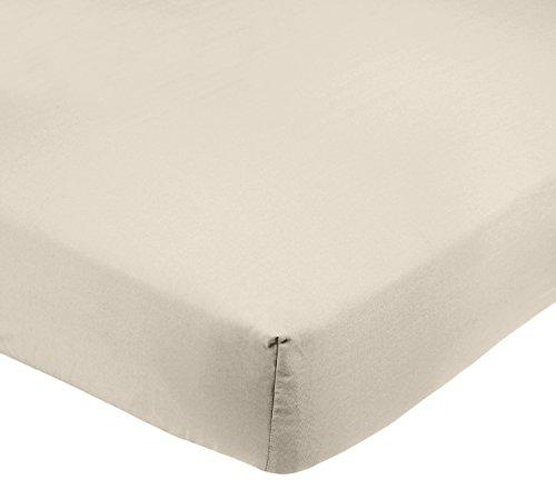 AmazonBasics - Lenzuolo con angoli in microfibra, 140 x 200 x 30 cm, Beige