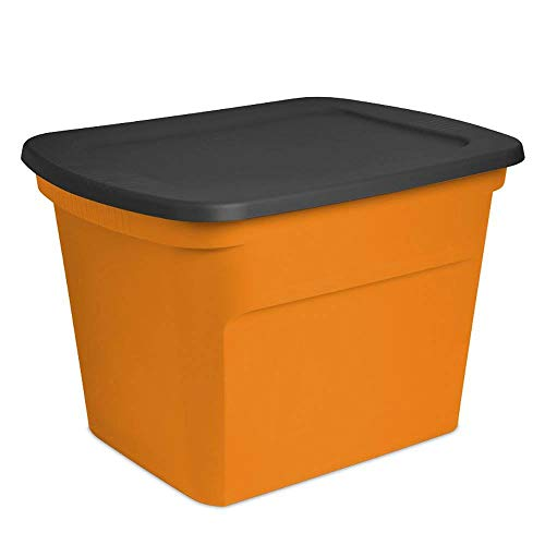Sterilite 18 Gallon Orange Plastic Storage Container Bin Tote with Lid (8 Pack)