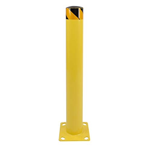BISupply Safety Bollard Post 36 x 4.5 Inches - Yellow Pipe Bollards Steel Parking Barrier for Garage...