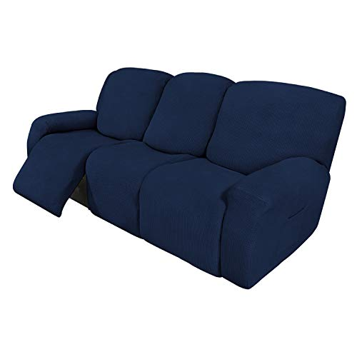 Easy-Going 8 Pieces Recliner Sofa Stretch Sofa Slipcover Sofa Cover Furniture Protector Couch Soft with Elastic Bottom Kids, Spandex Jacquard Fabric Small Checks Navy