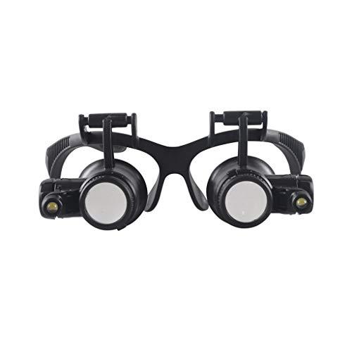 LRXG Lupa, 10X 15X 20X 25X Gafas con Doble Ojo y Lupa con luz LED para relojero Joyero (montado en la Cabeza)