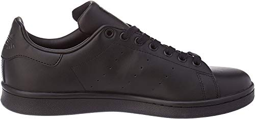 adidas Originals Men's Stan Smith Leather Sneaker, Core Black/Core Black/Core Black, 10
