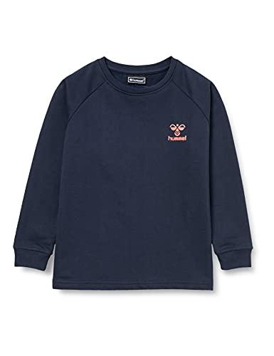 hummel Hmlaction Cotton Sweatshirt Kids Sudadera, Zafiro Oscuro/Fiesta, 116 Unisex niños
