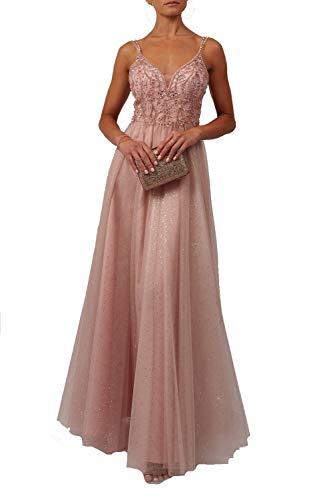 Mascara zachte roos Mc11934 parels lijfje glitter tule rok jurk