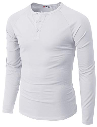 H2H Mens Casual Slim Fit Henley Lon…