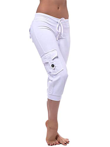 Minetom Damen Capri 3/4 Hose Kurze Caprihose Sommer Bermuda Stretch Stoffhose Sommerhose Knielang Leggings Freizeithose A Weiß M