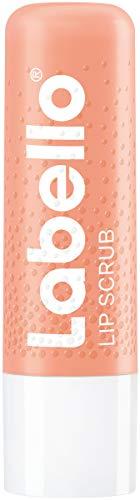 Labello Lip Scrub Erdbeere + Pfirsich (5,5 ml), innovative Lippenpflege mit Scrub-Partikeln natürlichen Ursprungs, sanftes Lippenpeeling mit Vitamin E