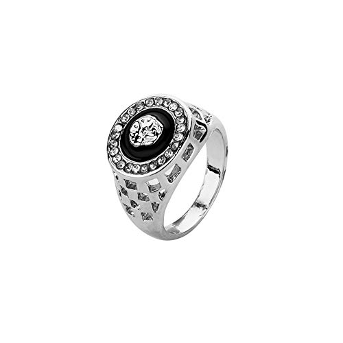nobrand Mode-Hip-Hop-Mann-Ring Persönlichkeit Set Diamant-Löwe Kopfschmuck Malerei Ölring Party Jewelr (Color : J218Silver, Size : Number 11)