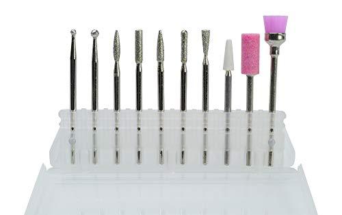 Universal Hartmetall Diamant Stein Nagelfräser Set mit 10 Aufsätzen zum Schleifen, Modelieren von Gel, Acryl, Naturnägel, für Maniküre, Pediküre, Nagelpflege. Fräser-Aufsatz Bit-Set