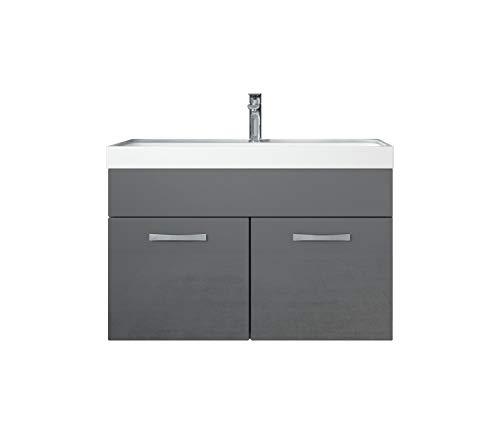 Badezimmer Badmöbel Set Paso 01 80 cm Waschbecken Hochglanz Grau Fronten - Unterschrank Schrank Waschbecken Waschtisch
