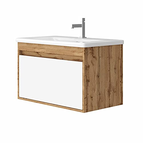 Malta Waschtisch MONTIERT | Waschbecken aus Keramik | Grifflos Optik | Waschbecken mit Unterschrank | Montagefertig | Weiß lackiert | Holzdekor Eiche (Eiche Dekor, 80)