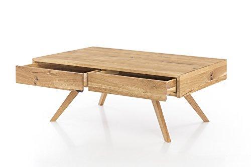 Massivholz Couchtisch rechteckig aus Wildeiche, Wohnzimmer-Beistelltisch, massiver Holztisch inkl. 2 Schubladen, Tisch 110 x 70 cm