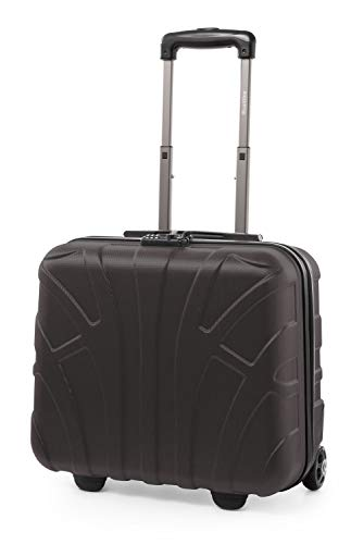 SUITLINE – Pilotentrolley Hartschale, Business Trolley, Kabinengepäck, Handgepäck Trolley, Pilotenkoffer, Bordcase, Bordgepäck, TSA, ABS, 2 Rollen, Titan