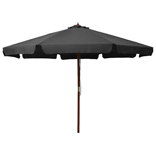 Kshzmoto Sombrilla de jardín con Palo de Madera Parasol para Terraza Jardín Balcón Mástil Protección UV y Impermeable Gris Antracita 330 cm