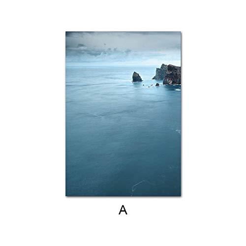 LiMengQi2 Tranquilo Azul océano mar Paisaje Pared Cartel Lienzo Arte Pintura escandinava Imagen Decorativa Moderna Sala de Estar decoración (sin Marco)
