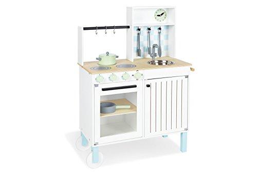 Pinolino Kinderküche Alfons, aus Holz, mit Waschschüssel, Kochbesteck, 2 Töpfen und 2 Räder, für Kinder ab 3 Jahren, bunt lackiert