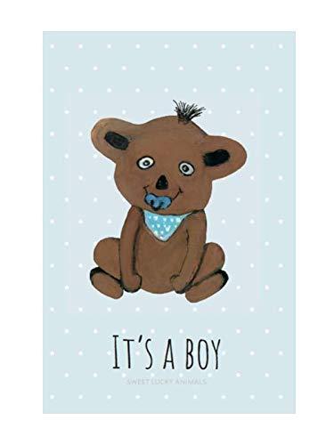 sweet lucky animals 1 XL Premium Grußkarte (Klappkarte) 18x12cm mit 1 weißem Umschlag Bär Geburt, Junge,100% Handmade Glückwunschkarte, Geburttskarte Kind, Dankekarten Karte zur Geburt, Bärenmotiv