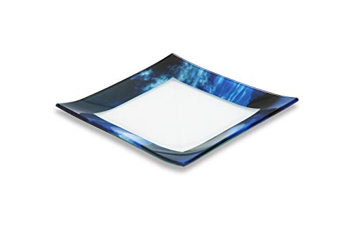 GAC Unique Landscape Design Square Tempered Glass Dessert Plates – 6 Inch – Set of 5 – Break and Chip Resistant – Attractive Blue Colored Salad Plate Set