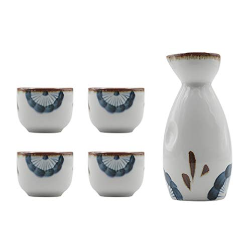 Cabilock Juego de Sake de Cerámica de 35Ml Juego de Tazas de Sake de Porcelana de Estilo Japonés con Juego de Copas de Licor de Botella de Tokkuri de 170Ml