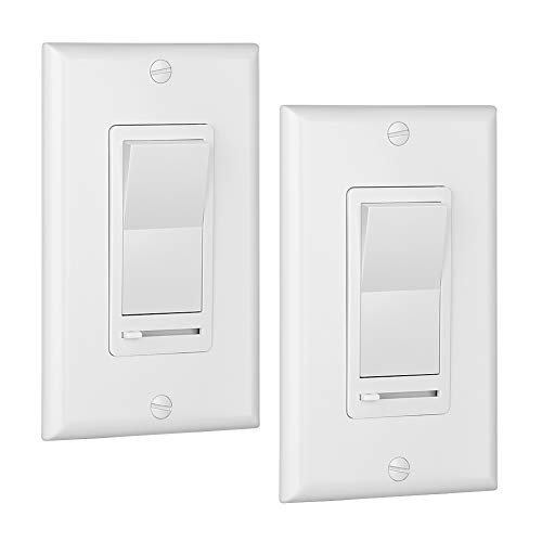 DEWENWILS Dimmer Switch for LED Lights/CFL/Incandescent, 3 Way/Single Pole in Wall Light Dimmer with Decorative Cover Plate, White, 2 Pack, UL Listed
