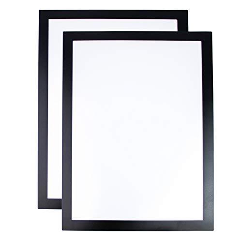Cadre d'affichage Magnétique Simple pour documents A4 - Contour Adhésif - Lot de 2 (Noir)